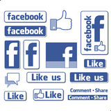 Facebook Like Button Icons Set Stock Photo