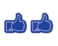 Facebook Like buttons - Mordern and retro royalty free illustration
