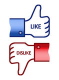 Facebook Like Dislike Thumb Up Sign. Illustration of the facebook thumb up and thumb down hands. Isolated on white vector illustration