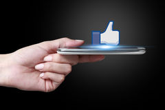 Facebook like icon. Johor, Malaysia - Sep 15, 2014: Like icon button is the voting system used to rate user comments on Facebook, Sep 15, 2014 in Johor, Malaysia Stock Image