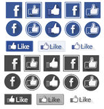 Facebook like. Facebook icons and likes buttons in both blue and gray Stock Image