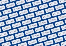 facebook like logoväggen Arkivbild