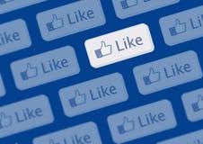facebook like logoväggen Arkivfoton