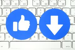 Facebook Like and new Downvote button of Empathetic Emoji Reactions keyboard royalty free illustration
