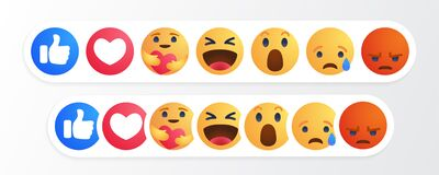 Facebook like round yellow cartoon button Empathetic Emoji Reactions with New Care Reaction