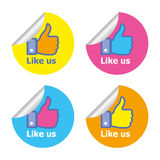 Facebook like sticker. Set of vector sticker Facebook like buttons isolated on white background with fun color. EPS format Stock Image