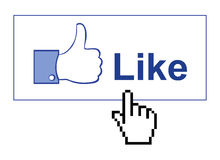 Facebook like. Thumb up illustration with hand mouse pointer. An additional Vector .Eps file available. (you can use elements separately stock illustration