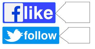 Facebook like twitter follow. Mostly used in web page designing Royalty Free Stock Image