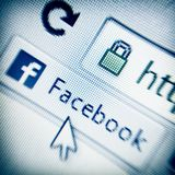Facebook link in browser Stock Photo