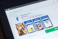 Facebook Lite ikona w liście mobilni apps Ryazan Rosja, Marzec - 21, 2018 - Obraz Royalty Free