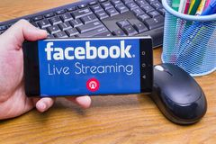 Facebook Live Streaming stock photography