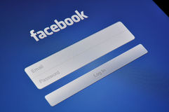Facebook Login on Apple iPad Stock Photo