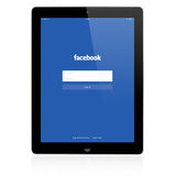 Facebook Login page on Apple iPad screen Royalty Free Stock Images