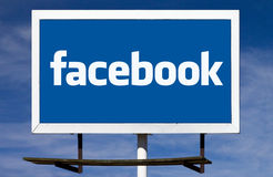 Facebook Logo Billboard Sign Stock Image