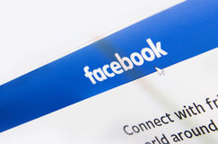 Facebook logo homepage on a monitor screen Royalty Free Stock Image