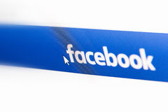 Facebook logo homepage on a monitor screen Stock Image