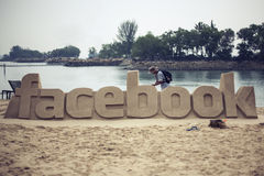 Facebook logo made of sand Royalty Free Stock Images