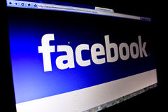 Facebook Logo on PC Screen Royalty Free Stock Photos