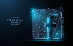 Facebook logo. Polygonal wireframe mesh art looks like constellation. royalty free stock photography