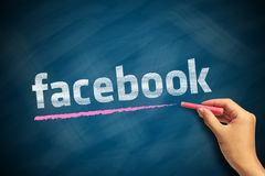 Facebook Logo. With a red chalk in hand on chalkboard Stock Image