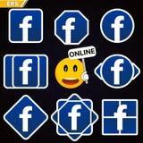 Facebook logosymbol social nätverksfacebook socialt nätverk för leende med online-status- och elevfacebook royaltyfri illustrationer