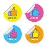Facebook mögen Aufkleber Stockbild