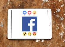 Facebook mögen Knopf einfühlsame Emoji-Ikonen lizenzfreies stockbild