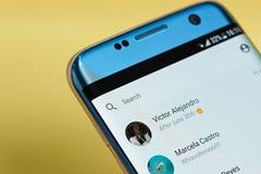 Facebook messenger application menu stock photos