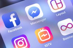 Facebook, Messenger, Instagram apps icons on the screen smartphone. Social media network. Moscow, Russia - October 14, 2018 royalty free stock photography