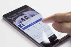 Facebook mobile application Stock Image