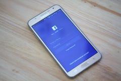 Facebook nazwy użytkownika ekran na Samsung galaktyki Mądrze telefonie Facebook jest wielkim i popularnym socjalny Zdjęcie Stock