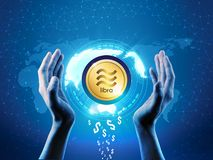 Facebook new Libra crypto currency concept. Block chain technology business theme Libra coin protecting with  hands, Protect Libra vector illustration