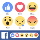 Facebook New Like Or Reaction Buttons Stock Images