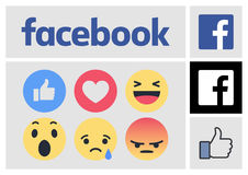 Facebook New Logo and Reactions Icons. 2017 January actual and official Stock Photos