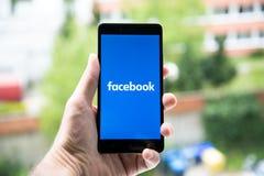 Facebook. Nitra, Slovakia - March 24, 2017: Facebook logo on smartphone Stock Photos