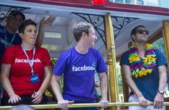 Facebook no orgulho alegre de San Francisco Fotos de Stock Royalty Free