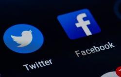 Facebook och Twitter stock illustrationer