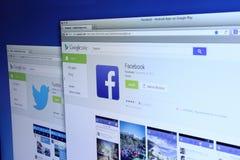 Facebook och Twitter Apps på Google lek Royaltyfri Fotografi