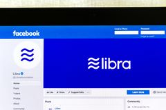 Facebook Page Of Cryptocurrency Libra On Notebook Screen Royalty Free Stock Image