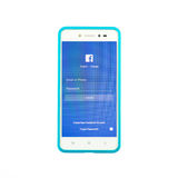 Facebook page on the smartphone on white background stock photo
