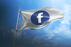 Facebook photorealistic flag editorial stock image