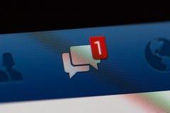 Facebook powiadomienie wiadomości Fotografia Stock