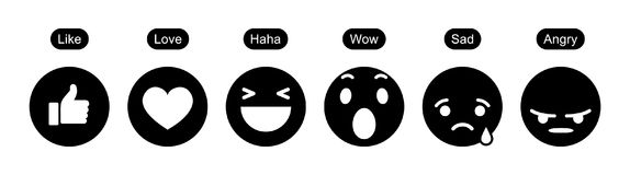 Facebook 6 reações compreensivo de Emoji ilustração stock