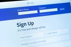 Facebook 6 registreren royalty-vrije stock fotografie