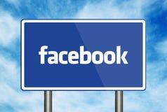 Facebook Road Sign. On blue sky background Stock Image