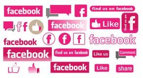 Facebook rosa färgsymboler Arkivfoton