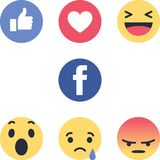 Facebook round icons new logos emojis vector illustration