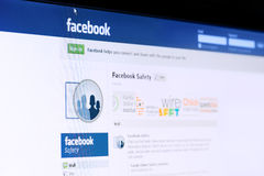 Facebook safety page on computer screen. Stock Image
