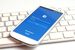 Facebook-Schirm Lizenzfreie Stockbilder
