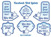 Facebook sharing labels and buttons Stock Images